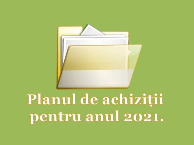 Planul de achiziții publice pentru anul 2021