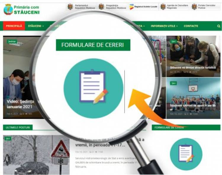 Formularele cu cereri și adresări pot fi accesate și expediate on-line