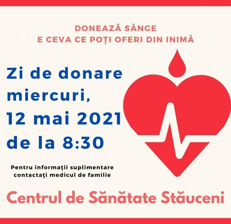 12 mai 2021: Donare de sânge în comuna Stăuceni
